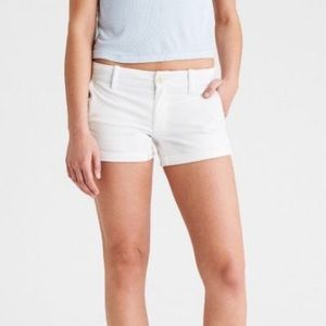 American Eagle white denim cuffed shorts size 8